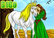 لعبة تلوين الاميرة والحصان الابيض