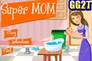 لعبة سوبر ماما تربية اطفال